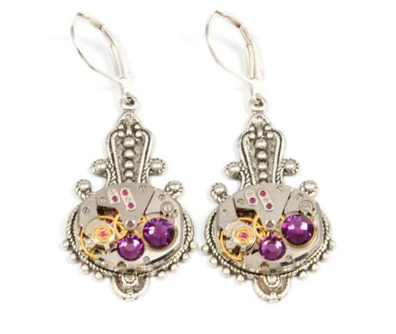 AMETHYST Steampunk Earrings FEBRUARY Steampunk Watch Earrings VINTAGE Style Silver Victorian Steampunk Jewelry by Victorian Curiosities