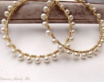 Gold Wire Wrap Hoop Earrings, Pearl Earrings, Beaded Hoops, White Pearls, Gold Hoop Earrings