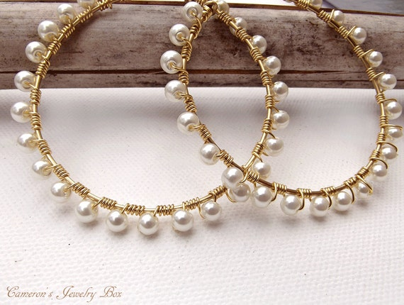 Gold Wire Wrap Hoop Earrings Pearl Earrings Beaded Hoops