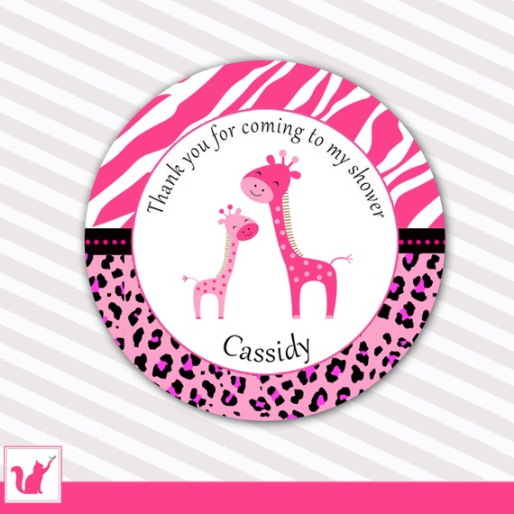 Giraffe Baby Shower Gift Favor Labels Hot Pink Gift by pinkthecat