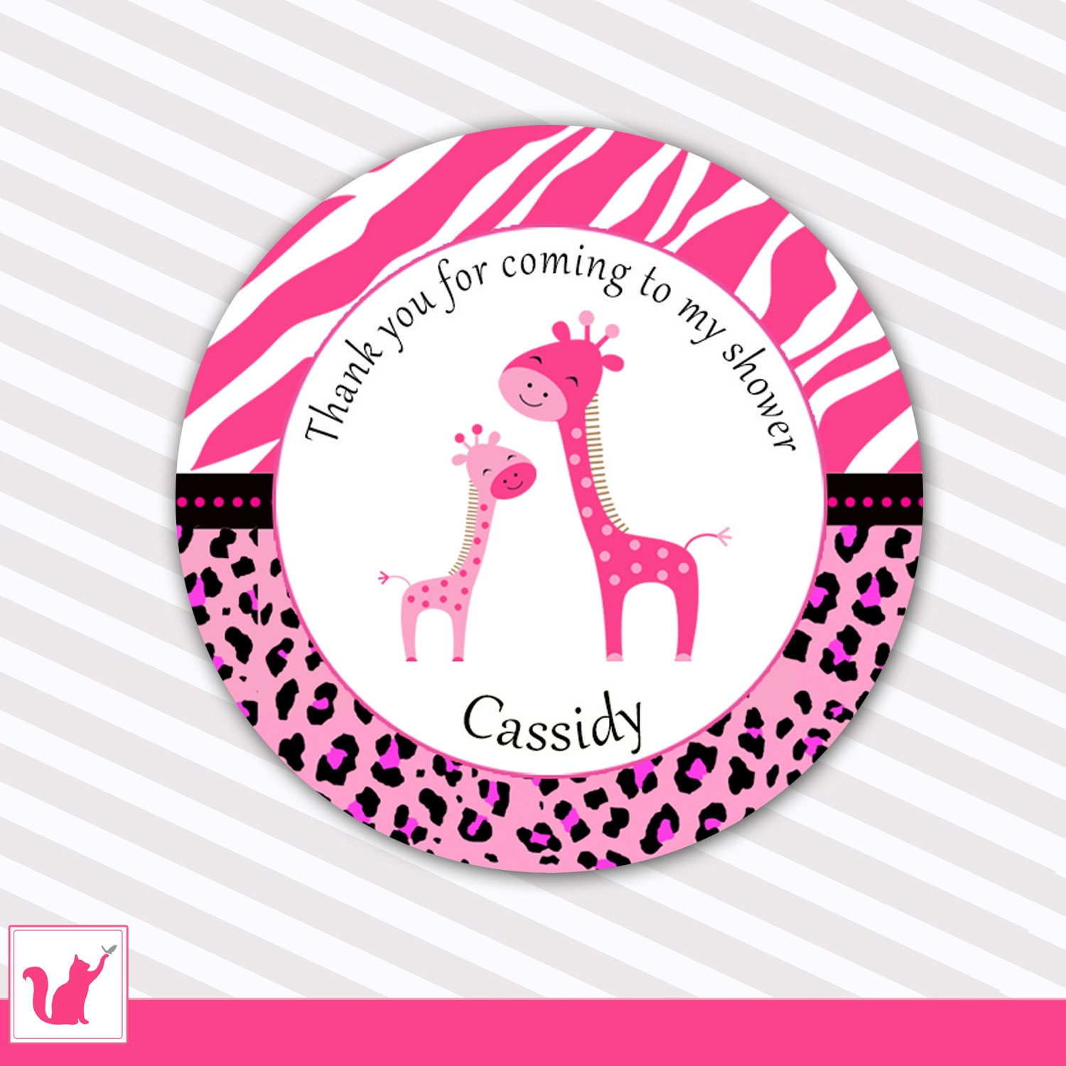 Baby Gift Labels : Giraffe baby shower gift favor labels hot pink