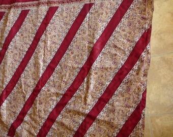 Used upcycled silk cotton sari by the yard, yardage India,  burgundy diagonals floral panels, mink