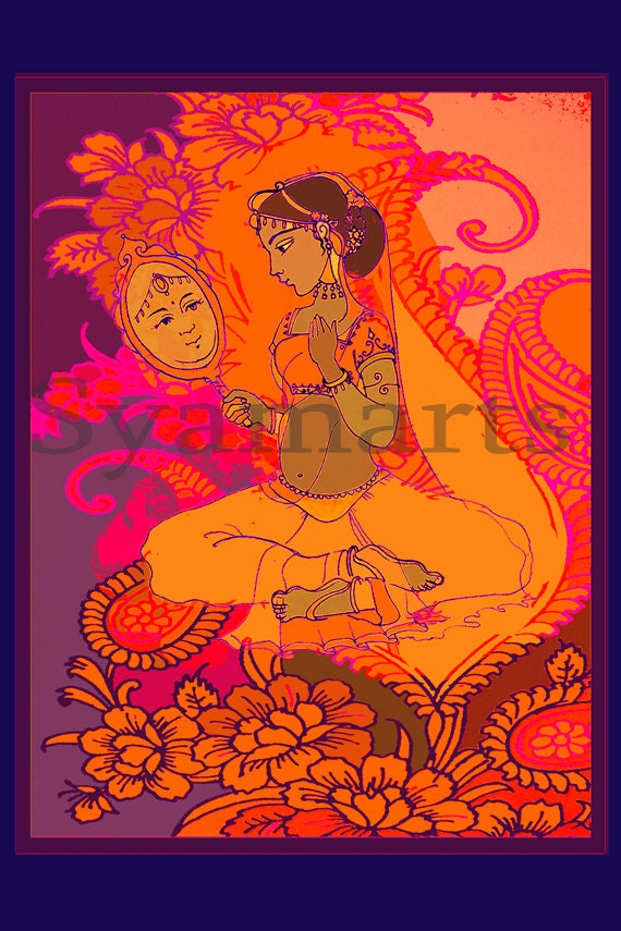 Archival print, goddess art, exotic,bridal, indian princess, the mirror, sari, henna design, line drawing, beautiful girl, india,