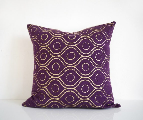 Purple Throw Pillow Metallic Gold Print On Purple Denim
