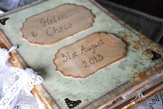 Personalised / Personalized Wedding guest book with vintage shabby chic botanical theme. Extra large wedding guestbook engraved pyrography