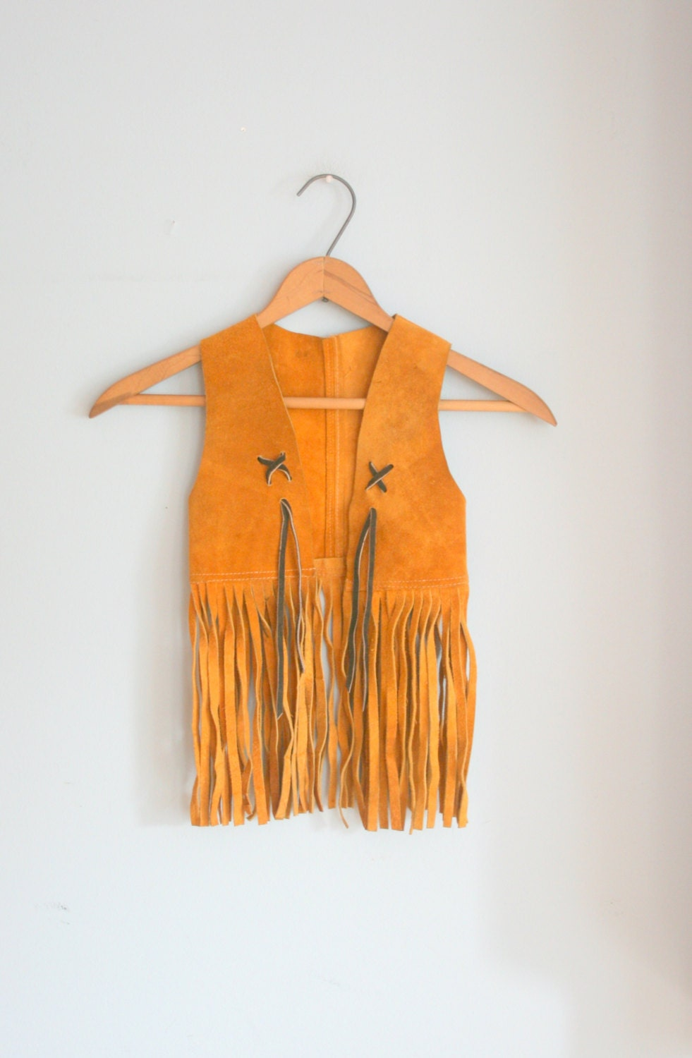 1970s Hippie Leather Fringe Kids Vest Size 4 5 6