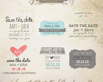 INSTANT DOWNLOAD - Save The Date Words Overlays vol.4