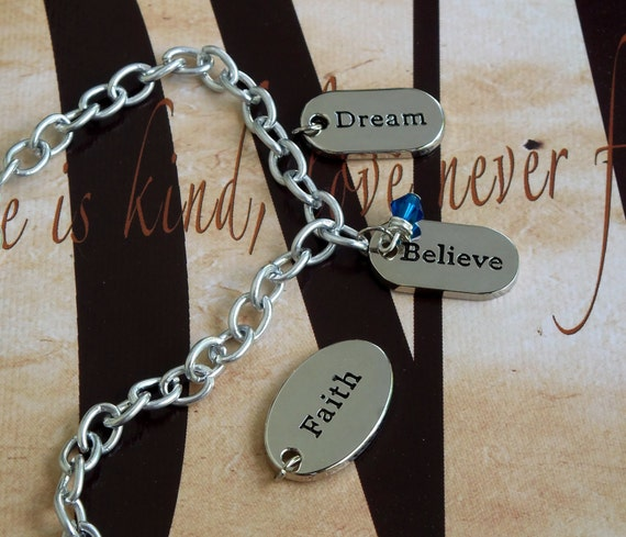 Faith - Dream - Believe - Anorexia, Bulimia, Gastric Cancer Awareness Charm Bracelet