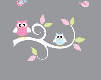 Girls Curl Branch with Owls and Birds-Nursery Wall Vinyl Stickers Decal