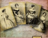 VINTAGE FRENCH DIVAS and Ballerinas for card making, Jewelry holders, atc - 2 Digital Collage Sheets  - See Promo - Instant Download