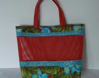 Mesh Tote Bag or Purse with Colorful Hawaiian Cotton Fabric and Red Pet Screen