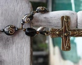 Handmade Decade Rosary with Trintiy Crucifix and lampwork style beads