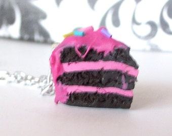 Valentines Chocolate Cake Slice with Pink Frosting and Sprinkles Polymer Clay Necklace