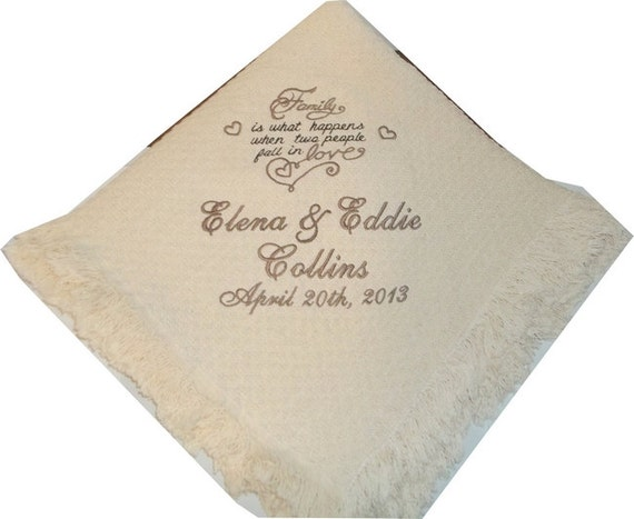personalized wedding throw family blanket gift