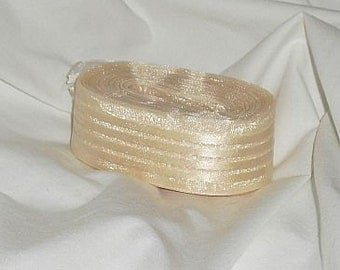 "Sheer Ivory Stripped Ribbon... 1"" X  14 yards"