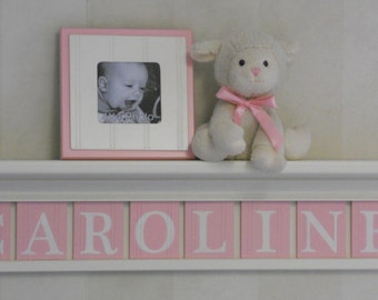 Baby Girl Wooden Name Signs, Nursery Decor Shelf (White or Off White) with Wooden Wall Letters in Pastel Light Pink