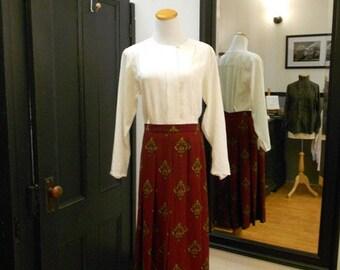 Vintage Long Pleated Skirt