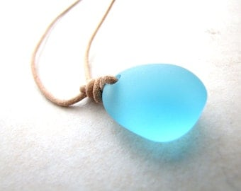 Leather Sea Glass Necklace Seaglass Aqua Turquoise Carribean Unisex Leather AdjustableNecklace Recycled Eco BellinaCreations