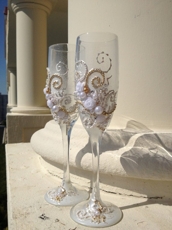 Items Similar To Wedding Toasting Glasses Hand Decorated