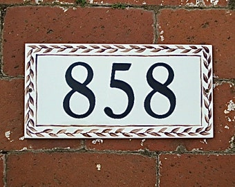 BROWN LEAF w Border Tile House Number, address plaque, house numbers, address tile