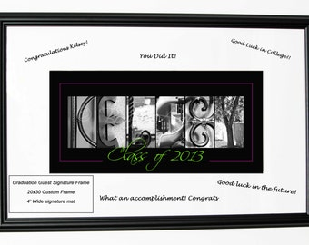 Graduation Guest Signature Alphabet Photography Custom Name Print - Letter Art