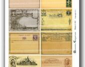 Old Postcards Envelopes Blank Unused ATC ACEO Antique Backgrounds United States England Digital Collage Sheet Printable Download 163