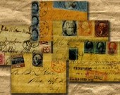Shabby Chic US Mail 2.5 x 3.5 inches ACEO ATC Size Antique Envelopes Stamps Assemblage Digital Collage Sheet Download 144
