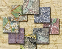 London Street Maps Vintage Antique Decoupage Scrapbook Jewelry Bezels One Inch Inchies 1 inch Squares  Collage Sheet Printable Download 262