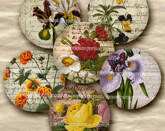 Flower Circles Floral Inchies 1 inch Rounds Jewelry Bezels Pendant Bottle Caps Buttons Lockets Magnets Digital Collage Sheet Download 172