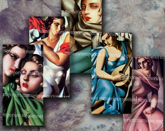 Art Deco Womens Faces 1x2 1 x 2 Inch Tiles 1920s Twenties Thirties 20s Jewelry Bezel  Decoupage Digital Collage Sheet Printable Download 252