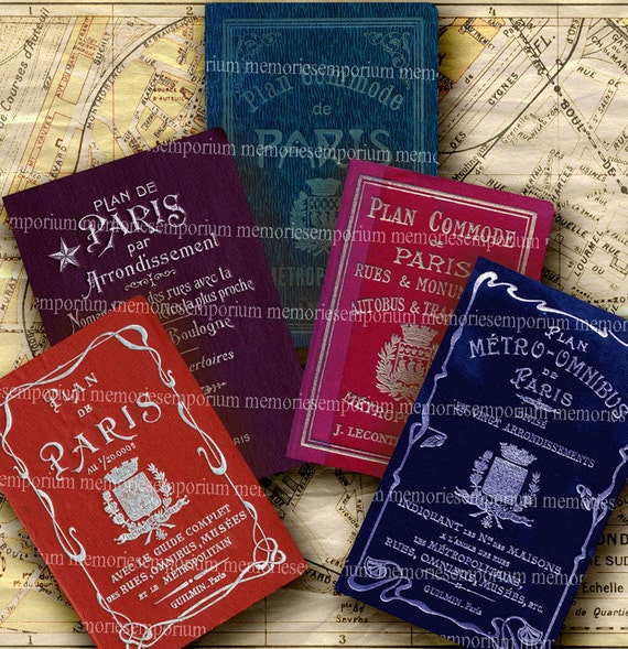 Old Paris Tourist Map Covers Vintage Parisian Street Road Maps Sightseeing Digital Collage Sheet Instant Download 182