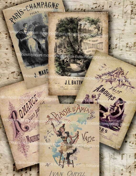 French Love Songs Shabby Chic Antique Music Valentine ACEO ATC Grunge Backgrounds Digital Collage Sheet Download 168