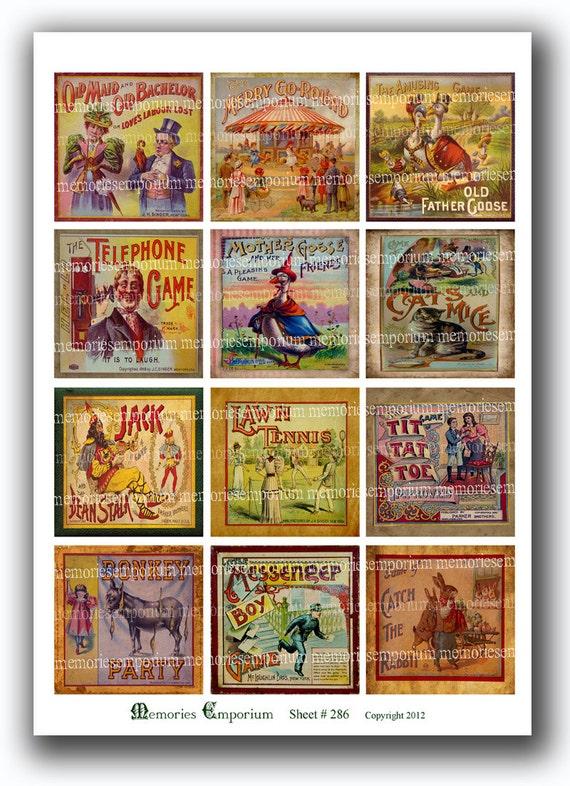 Old Parlor Games Lids Childrens Vintage Board Card Antique Games Decoupage Boys Girls Digital Collage Sheet Printable Download 286