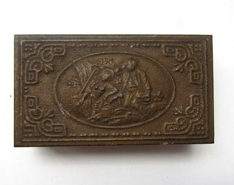 Rare Antique Edwardian repousse brass and wood trinket box, antique jewellery box, cufflink box