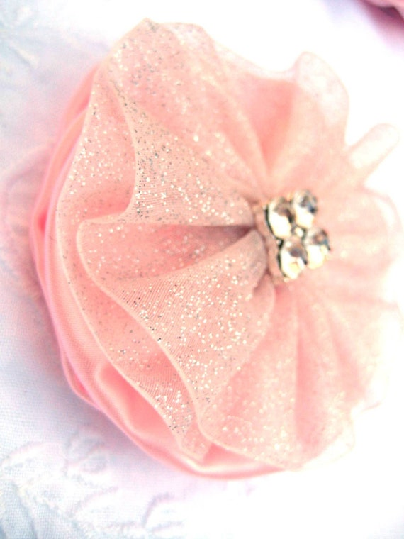Pink Hair Bow made from Satin and Organza with Crystal Accents - Wedding Accessory
