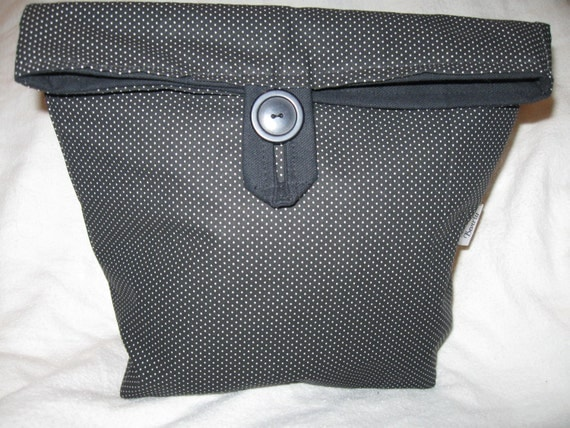 Recyclable Lunchbag or Lunchsack Black Polka Dot All Cotton Reusable lunchbag or Go Green lunch sack