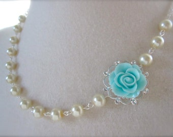 Turquoise Necklace Blue Rose necklace Bridesmaid Gift Floral jewelry Ivory Blue Asymmetrical pearls Necklace beach wedding Nature inspired