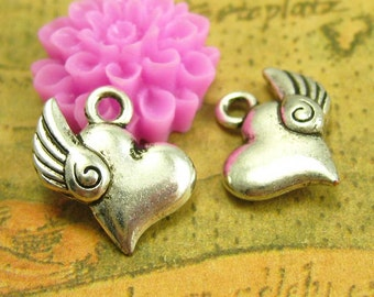 50 pcs Antique Silver Winged Heart Charms 14x14mm CH1537