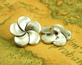 20 pcs Antique Silver Flower Buttons Metal Sewing Buttons 14x14mm CH1548
