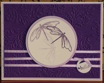 Three Dragonflies Lavender Note Card