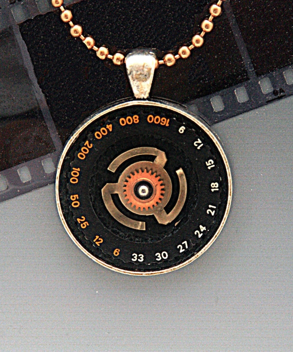 PENDANT made with old CAMERA PARTS  Jewelry Genuine Vintage Ooak Recycled Original Design for Photographers and Photo Fans Cool Gift