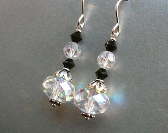 Swarovski crystal earrings. Black and white earrings. Sterling Silver. Black and white jewelry, Swarovski crystal jewelry. E190ss