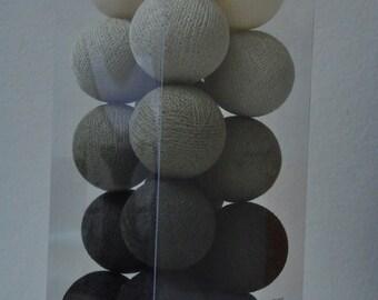 20 Light grey tone cotton ball string lights Assembled set