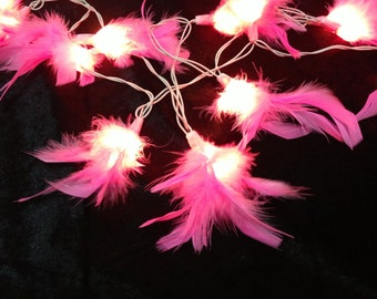 20 Bulbs Sweet pink fluffy feather string lights for Patio,Wedding,Party and Decoration