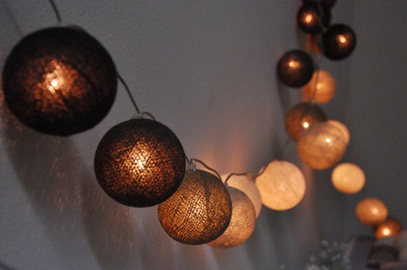 String Lights Balls : Mixed light grey ball string lights for PatioWeddingParty