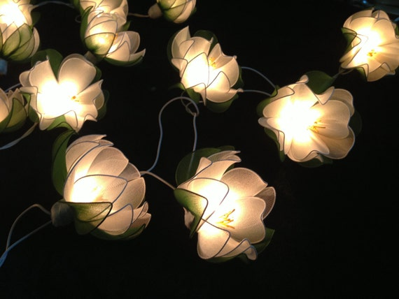 White Lotus with leaf string lights for PatioWeddingParty