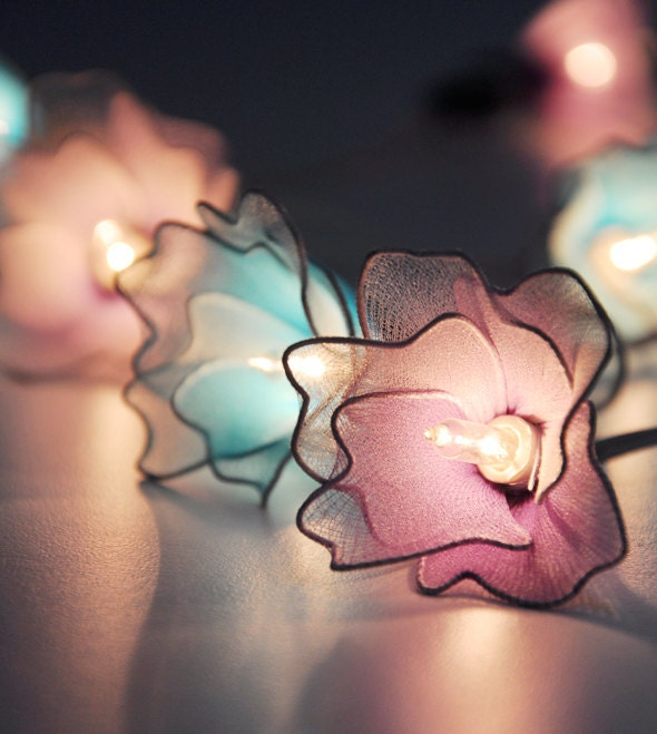 Purple & Blue flower string lights for PatioWeddingParty and