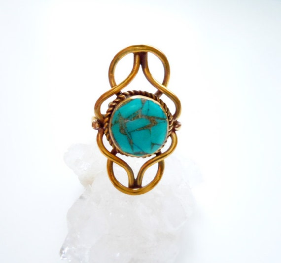 Boho Chic Turquoise Ring - Golden Brass- Adjustable - Gypsy