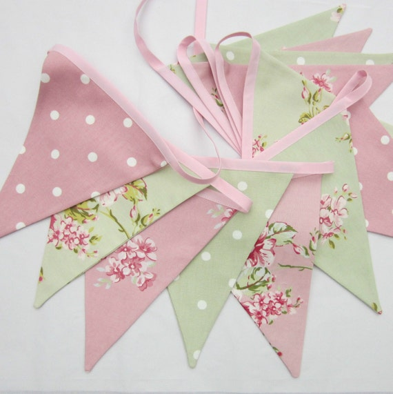 Fabric Bunting, cottage chic, Floral, Pink, Sage Green, Flags, Bunting, Pennant Banner, Wedding, Christening, Baby Shower, Choose Length