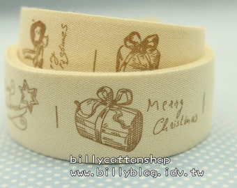 V165 - cotton tape/ sewing tape/ Ribbon - cotton - Merry Christmas
